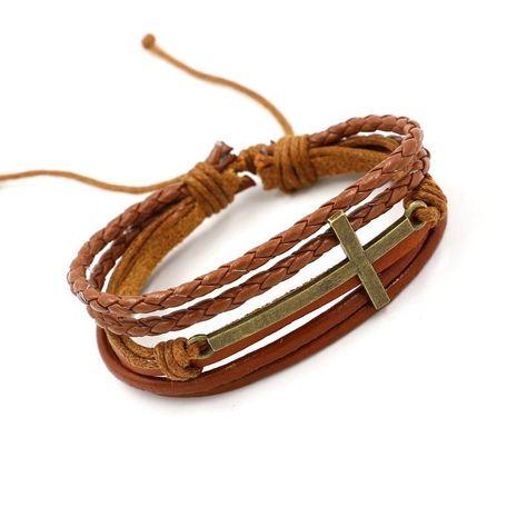 Unisex Geometric Braided Leather Bracelets & Bangles HM190411116719's discount tags