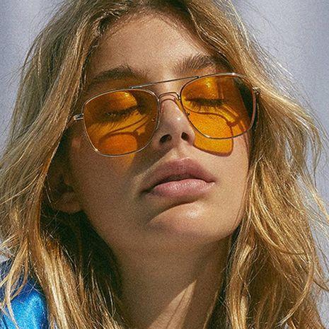 Gafas de sol de doble haz con caja de metal translúcida hembra piloto amarillo KD190412116916's discount tags
