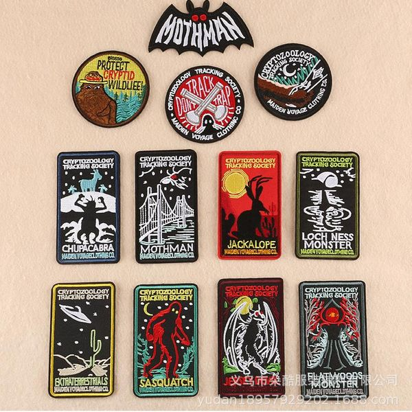 Polyester Round letter patch horror element rectangle badge DX190412116938