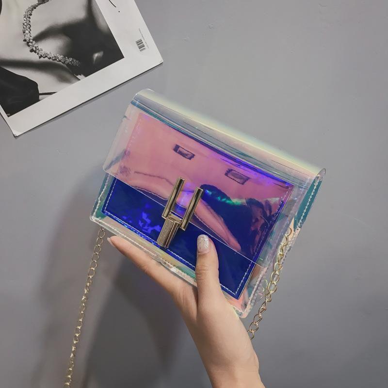 Korean fashion mini handbags wild laser Messenger bag tide jelly chain shoulder bag XC190413117280