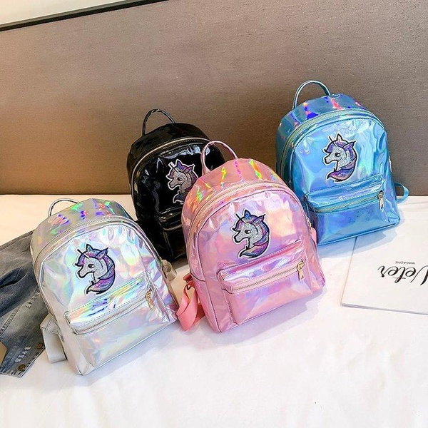 Cute personality rainbow pony pu backpack HX190413117312