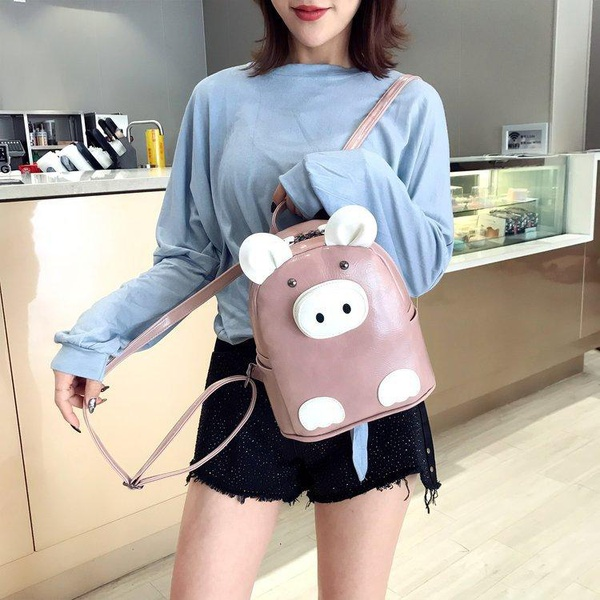 Ugly PU simple and versatile small backpack HX190413117317