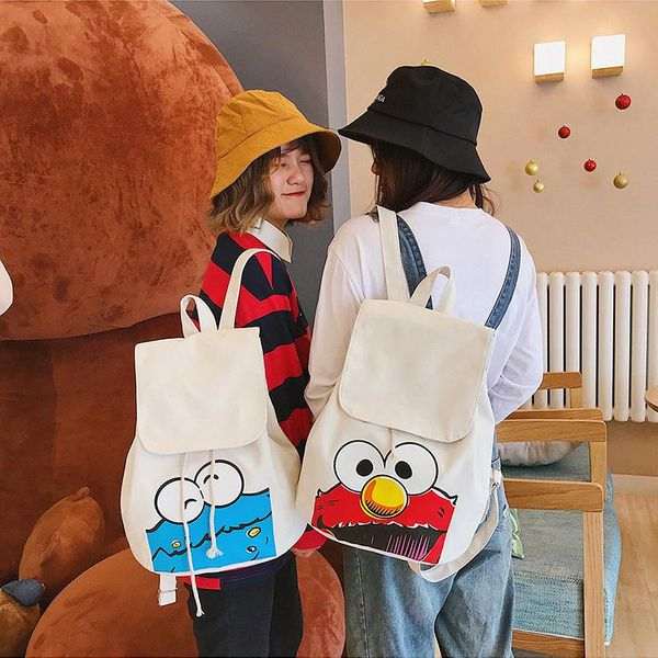 Cartoon cute print sesame street drawstring canvas bag HX190413117333