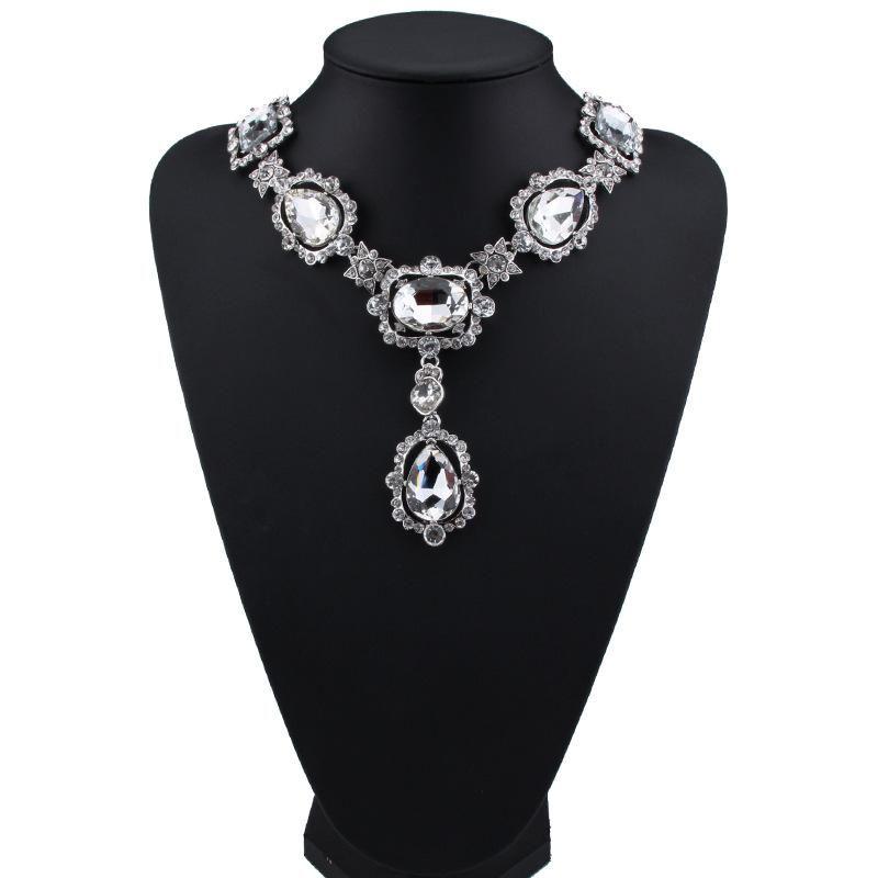 Womens Floral Rhinestone Necklaces JQ190416117459