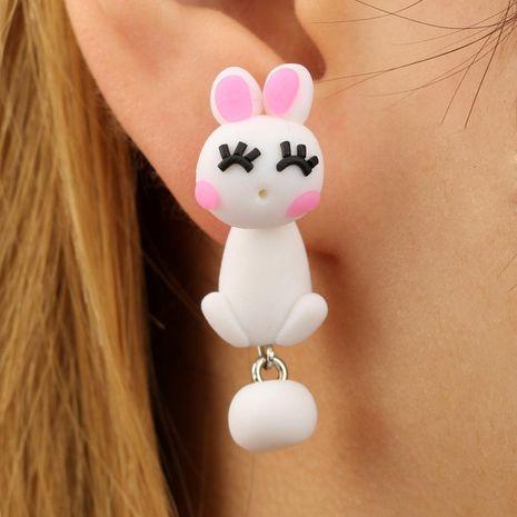 Feminine / Zodiac Soft Pottery  Cute cartoon cute white cute rabbit split Earrings GY190416117547's discount tags