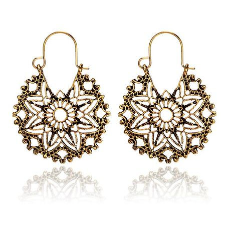 Womens Alloy  Creative retro cutout round flower alloy geometry Earrings GY190416117571's discount tags