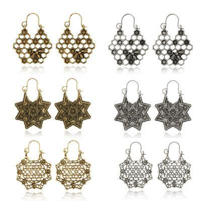 Womens Floral Plating Stylish personality floral five-pointed star honeycomb pattern  Alloy Earrings GY190416117609's discount tags