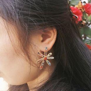 Womens Geometric Rhinestone Alloy Rhinestone temperament fashion wild Jujia Earrings JJ190416117633's discount tags