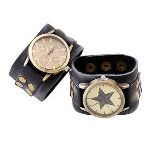 Unisex geometric leather Punk wide leather atmospheric vintage leather Bracelets & Bangles PK190416117734's discount tags