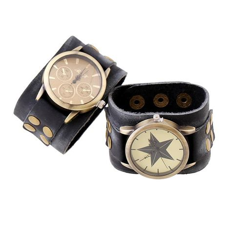 Unisex geometric leather Punk wide leather atmospheric vintage leather Bracelets & Bangles PK190416117734's discount tags