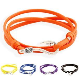 Unisex geometric artificial leather Stylish nautical navy hook Bracelets & Bangles PK190416117737's discount tags