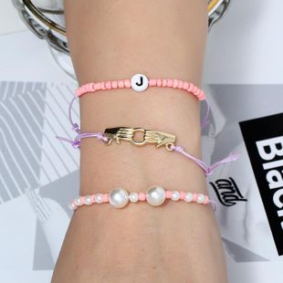 Womens Leaf Glass / Glass Personalized hand-knitted adjustable beading Bracelets & Bangles KQ190416117745's discount tags
