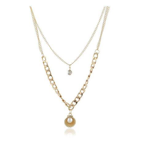Womens shell plating alloy Multi-layer short clavicle Necklaces KQ190416117748's discount tags