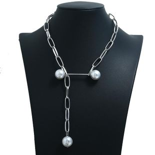 Womens Geometric Beads  Personality big cross chain beads clavicle chain Necklaces KQ190416117749's discount tags