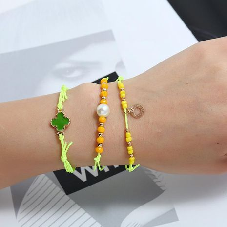 Womens Leaf Dropper Alloy Fashion fluorescent yellow weave Bracelets & Bangles KQ190416117750's discount tags