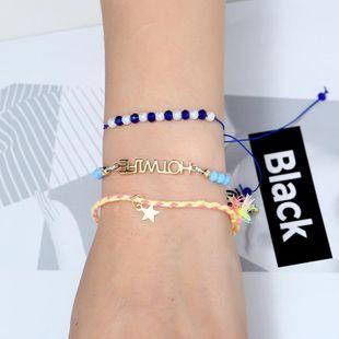 Womens Leaf Glass / Glass Stars sky blue beaded rhinestone glass beads Bracelets & Bangles KQ190416117754's discount tags