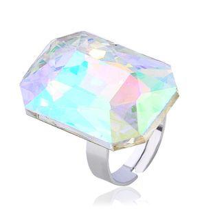 Womens Geometric Rhinestone  Stylish high-end cut square large gems Alloy Rings KQ190416117755's discount tags