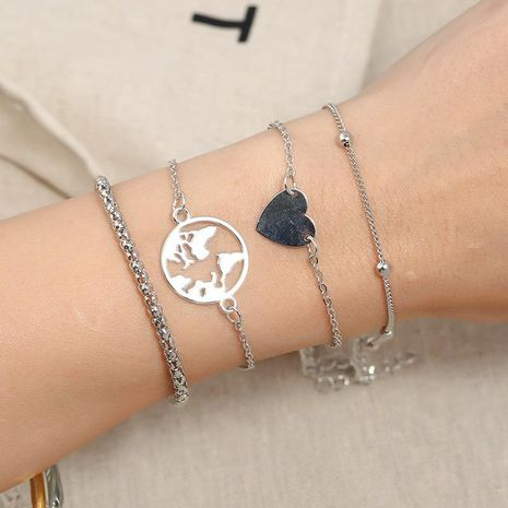 Womens constellation plating Heart-shaped map big bead chain alloy Bracelets & Bangles KQ190416117757's discount tags