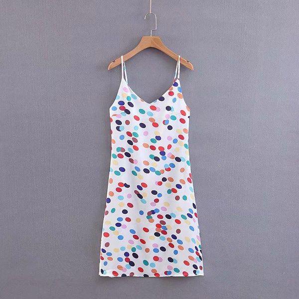 Spring color wave point sling dress AM190417117842