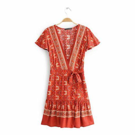 2019 spring V-neck print dress holiday dress AM190417117849's discount tags