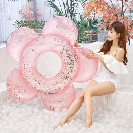 Inflatable sequins flower swimming ring Adult swimming ring buoy mount floating row rainbow cloud circle WW190417117893's discount tags