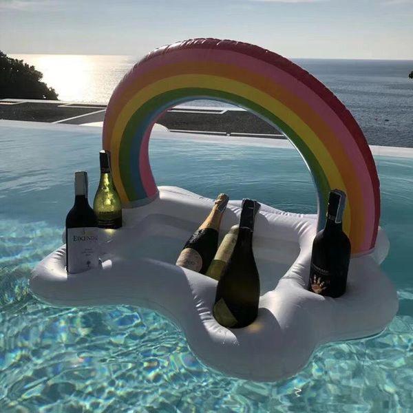 Inflatable Rainbow Ice Bar Cloud Coaster Tray Water Cup Holder Porous Rainbow WW190417117898