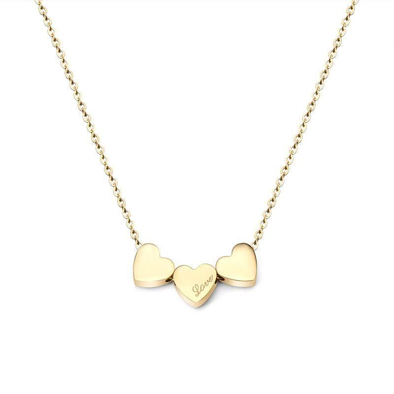 Womens Heart Shaped Titanium Steel Necklaces OK190418118009