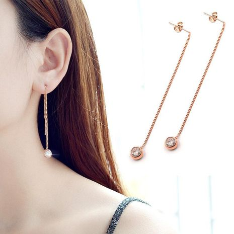 Womens Geometric  Side chain ear wire hanging drill Titanium Steel Earrings OK190418118039's discount tags