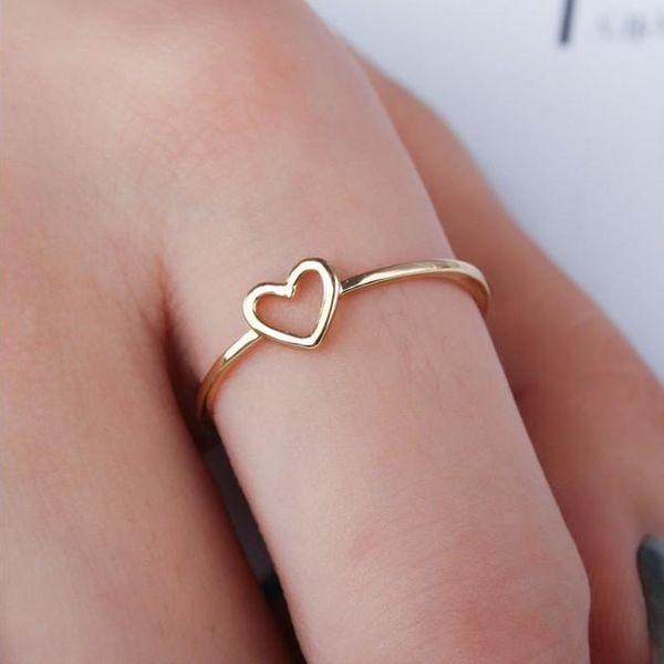 Womens Heart Shaped White Copper Rings QL190418118045