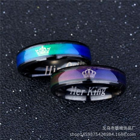 Couple Crown Stainless Steel Teng Sui Rings TP190418118093's discount tags