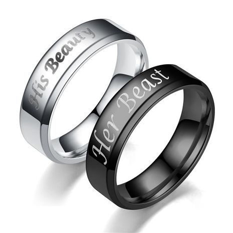 Couple Crown  Hot new bevel Stainless Steel Rings TP190418118109's discount tags