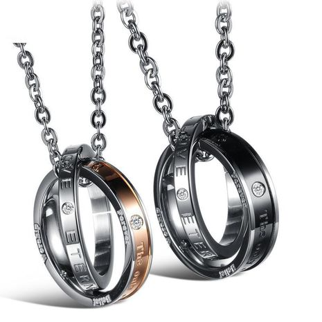 Couple type geometric plated titanium steel Necklaces OP190418118160's discount tags