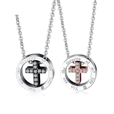 Couple type geometric plated titanium steel Necklaces OP190418118182's discount tags