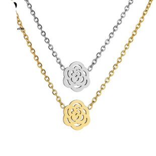 Womens Floral Electroplated Stainless Steel Necklaces HF190418118192's discount tags