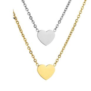 Womens Heart-Shaped Stainless Steel Necklaces HF190418118194's discount tags