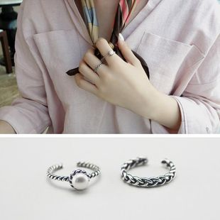 Geometric plating alloy  Woven twist inlaid beads opening Rings MS190419118241's discount tags