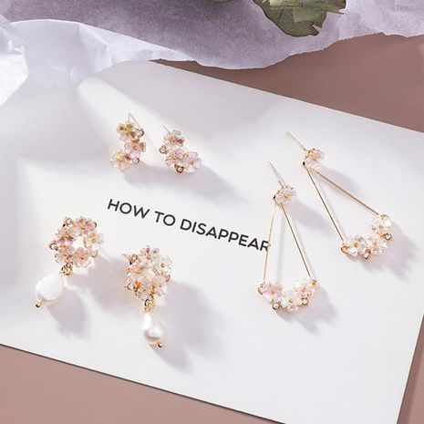Womens Floral Plating Flower Alloy Earrings MS190419118247's discount tags