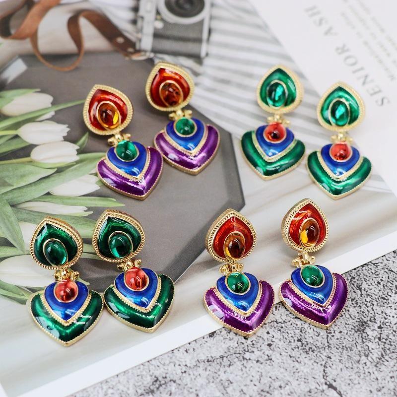 Womens Other  Green purple glazed alloy needle Earrings OM190419118277