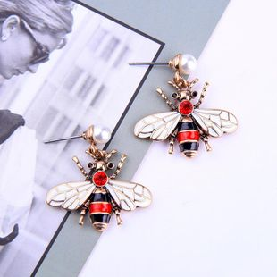 Womens insect drop oil  Cute beads alloy Earrings QD190419118365's discount tags