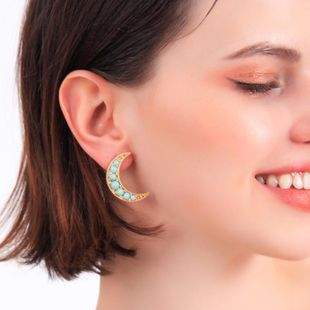 Womens Moon colorful rhinestone fashion Alloy Earrings QD190419118366's discount tags