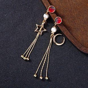 Womens Fringe Rhinestone Alloy Symmetrical beads star tassel Earrings QD190419118374's discount tags
