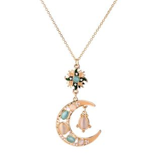 Womens Floral Rhinestone Alloy Dragonfly dripping sun flower Necklaces QD190419118377's discount tags