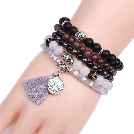 Unisex Buddha Head   Lotus Handmade Black Stone Bracelets & Bangles YL190422118603's discount tags