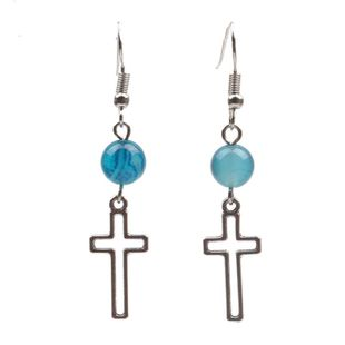 Couple Style  Mens  Womens Cross Agate Earrings YL190422118619's discount tags