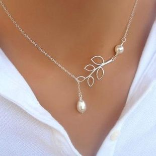 Womens U-shaped beads Water droplet cross Necklaces PJ190422118693's discount tags