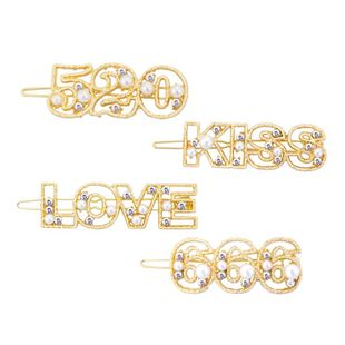 Womens Alphabet / Number / Text Plating Alloy Hair Accessories HN190422118705's discount tags