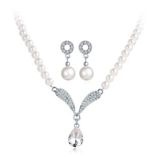 Womens Imitated crystal Rhinestone Beads Alloy Necklace earrings two-piece suit PJ190422118729's discount tags