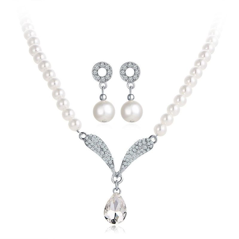 Womens Imitated crystal Rhinestone Beads Alloy Necklace earrings two-piece suit PJ190422118729