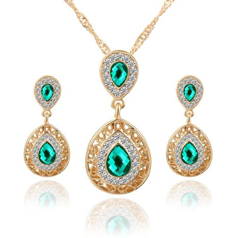 Womens electroplating alloy Water drop pendant jewelry three-piece PJ190422118732's discount tags