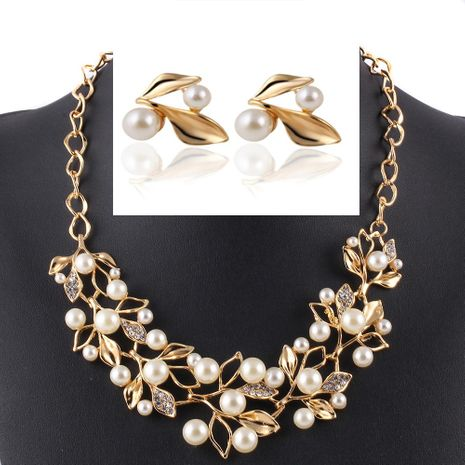 Womens electroplating alloy Imitated crystal Leaf Jewelry Set Sweater Necklace PJ190422118737's discount tags
